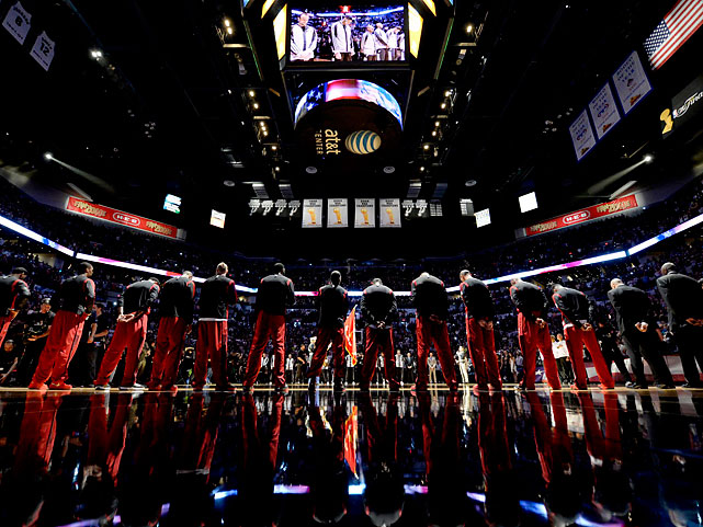 The Miami Heat players lined up before the start of the game.