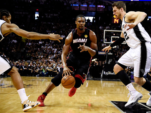Chris Bosh had 18 points for the Heat, who are headed home for Game 3 Tuesday night.
