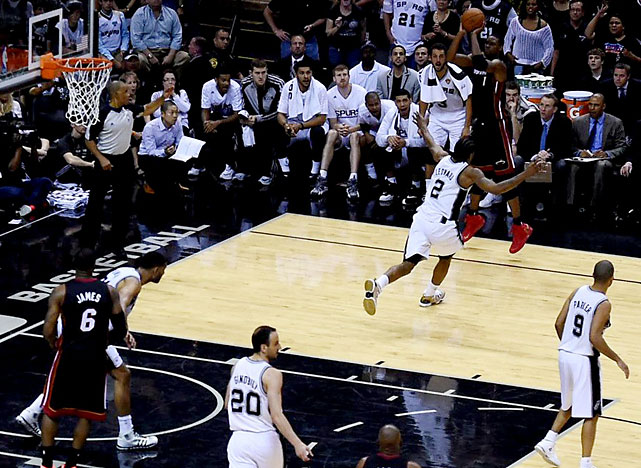 Chris Bosh made this go-ahead 3-pointer on a pass from LeBron James with 1:18 remaining for the Heat, who have won 13 straight following a loss in the postseason. Just like last year, they rebounded from a loss to the Spurs in Game 1. Read More: http://sportsillustrated.cnn.com/basketball/nba/gameflash/2014/06/08/36244/index.html#recap#ixzz347783sMZ
