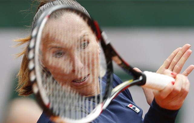 "Jelena Jankovic was the living definition of ""racket face"" while jousting with Kurumi Nara during the second round."