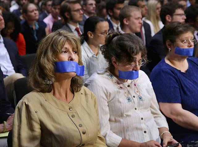 Gag order: We now present our taped coverage of the recent Senate Judiciary Committee hearing on political donations and freedom of speech. Pointy-headed liberal groups delivered a petition with two million signatures (reportedly by the same person) calling for a Constitutional campaign finance amendment to restore the ability of Congress and the states to regulate the raising and expenditure of moolah in elections.