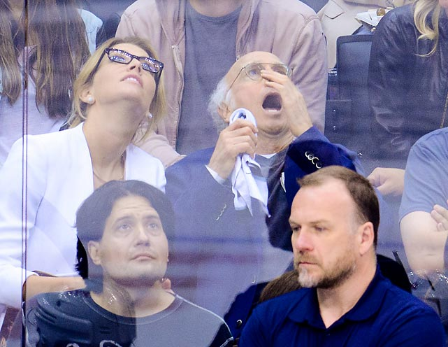 You just never know what you'll spot on the ceiling at Staples Center during a Stanley Cup Final hockey game...