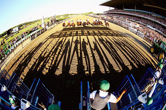 The field bursts from the gate at the 146th running of the Belmont Stakes in Elmont, New York.