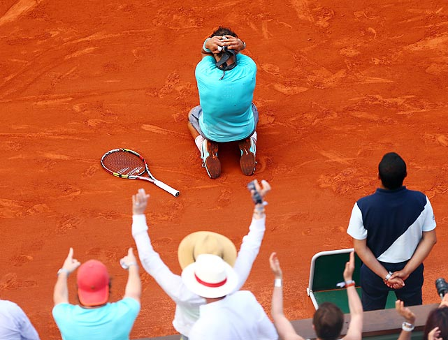 Rafael Nadal reacts after winning the men's singles final over Novak Djokovic at the French Open.