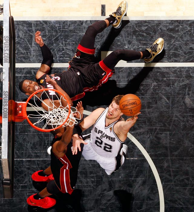Spurs center Tiago Splitter goes up for a shot against the Heat in Game 2 of the NBA Finals in San Antonio.
