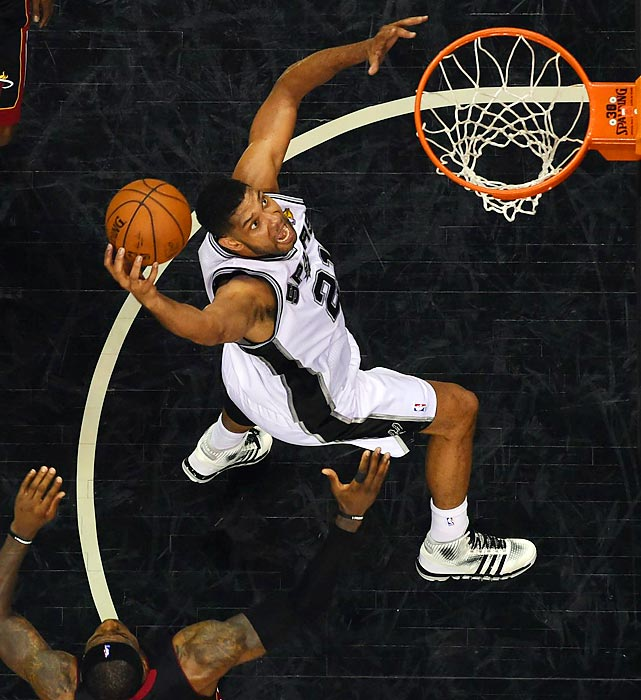 San Antonio's Tim Duncan goes up for a jam against the Miami Heat in Game 2 of the Finals.