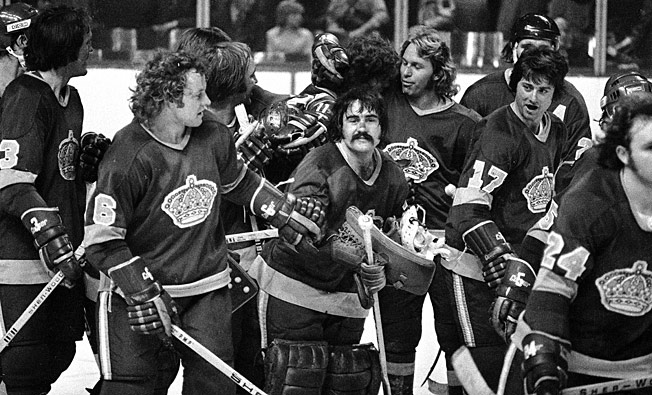 Rogie Vachon (center) and the Kings looked and played like the Charlestown Chiefs of Slap Shot fame.