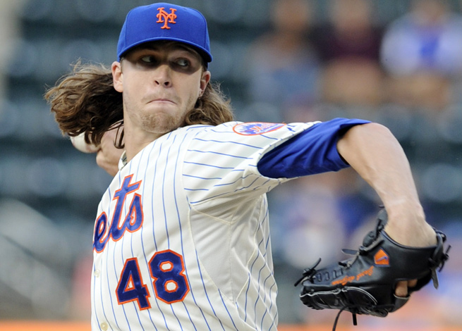 Jacob deGrom sports a 5-5 record, 2.79 ERA, 1/26 WHIP and 83 strikeouts in 87 innings this season.