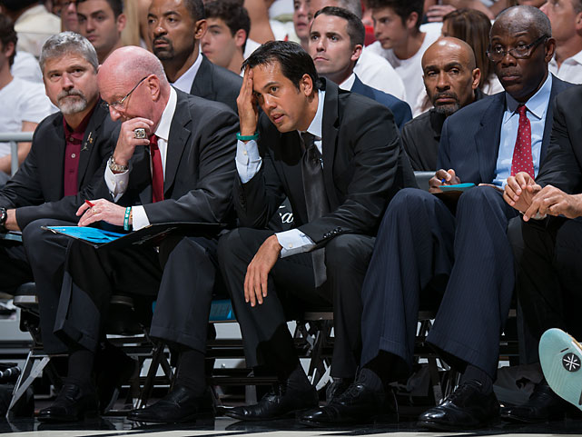 Erik Spoelstra's team hadn't lost back-to-back games in the playoffs since dropping three straight against the Boston Celtics in the 2012 Eastern Conference finals.