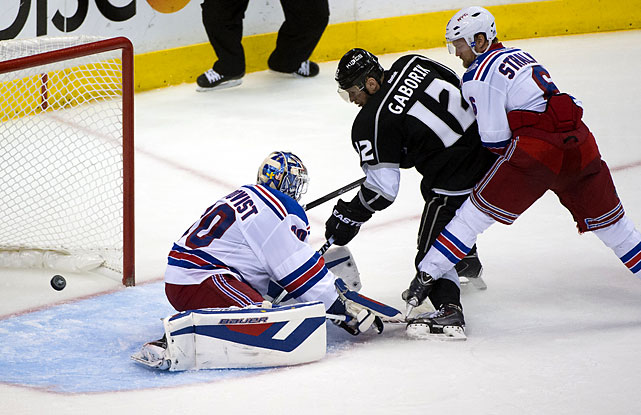 Marian Gaborik scored a tying power-play goal with 12:04 left in regulation for the resilient Kings, who rallied from yet another deficit before finishing off the Rangers in the longest game in franchise history and the third overtime game at Staples Center in this series.