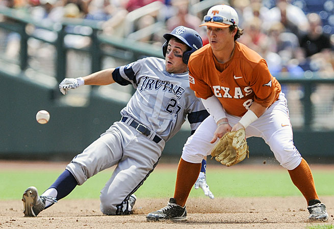 UC Irvine used a late rally to slide its way past Texas in the opening game of the College World Series.