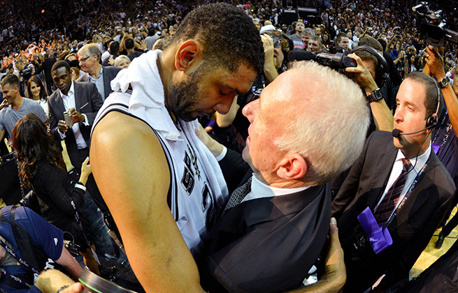 Tim Duncan and Gregg Popovich have won the third-most (five) titles by a player-coach duo in history.