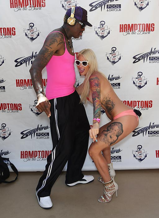 Taking a break from the exhausting grind of international diplomacy, the former NBA star/popular loose cannon engaged in a traditional interpretive folk dance upon arriving at the Sapphire Pool & Day Club in Las Vegas.