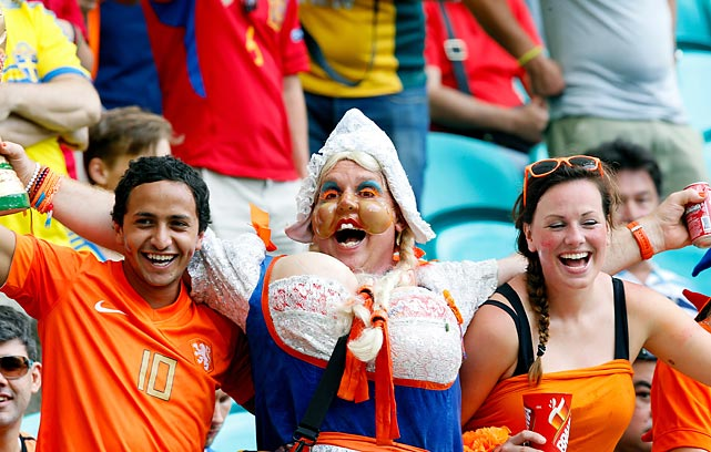 Supporters of Holland could barely be contained during the team's FIFA World Group B Cup match at Arena Fonte Nova in Salvador, Brazil.