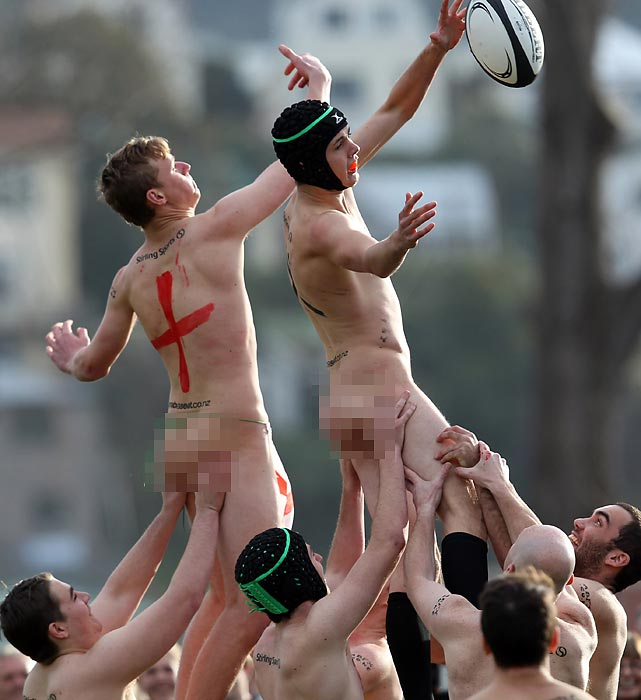 Bringing up the rear, we present the New Zealand Nude Blacks battling England at University Oval in Dunedin, New Zealand. Kinda makes the World Cup look like small potatoes, no?