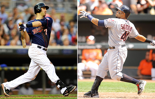Joe Mauer is hitting .258 so far this season, while Carlos Santana is hitting just. 191.