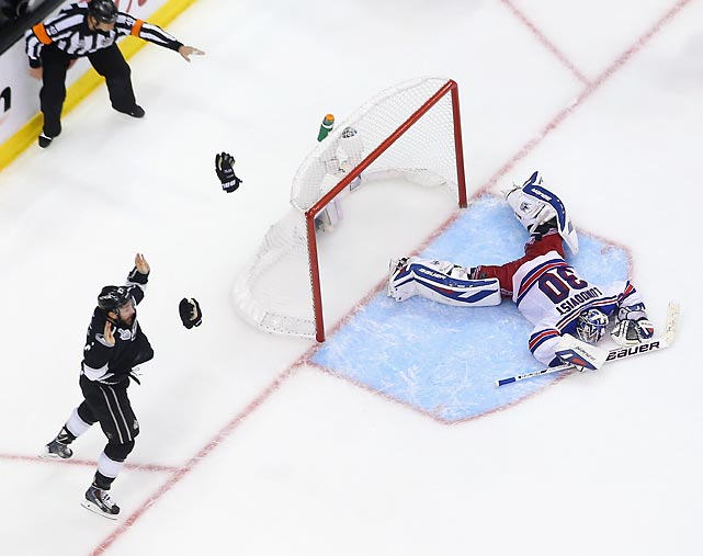 Alec Martinez (left) celebrates after scoring the Stanley Cup-winning goal.