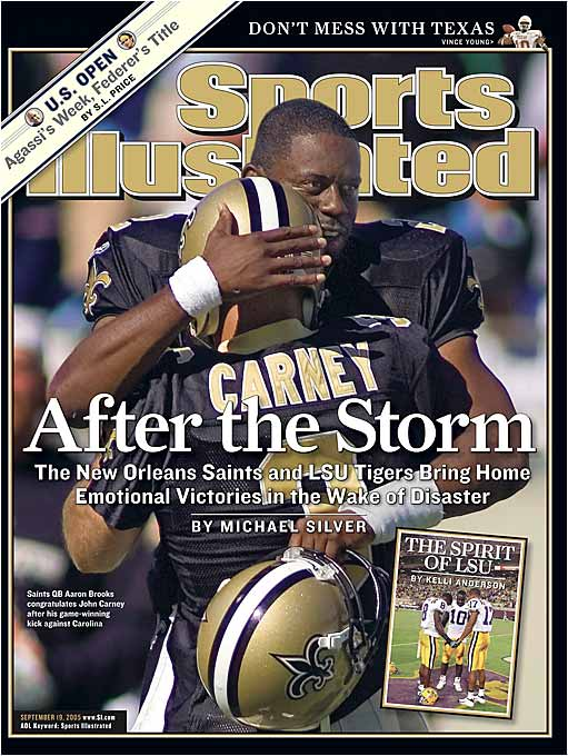"""Their win over Carolina in the opening week of the season made the Saints one of the feel-good stories in the wake of Hurricane Katrina, but they suffered the double indignity the following week of having to travel to the Meadowlands for a """"home game"""" and losing 27-10 to the Giants."""