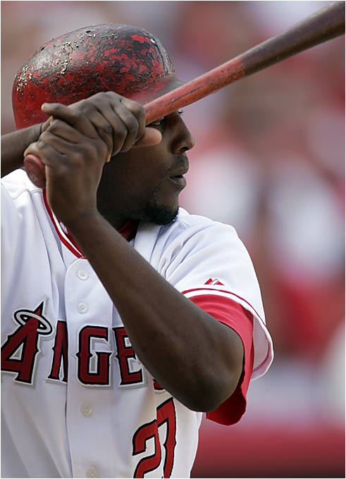Missing almost a month last year, Vlad still popped 32 homers, and knocked in 108 ribbies. But he is more than just a power hitter as witnessed by his .317 batting average and 13 steals in only 14 attempts. The heart and soul of the Angels is looking to bounce back with a monster year in 2006.