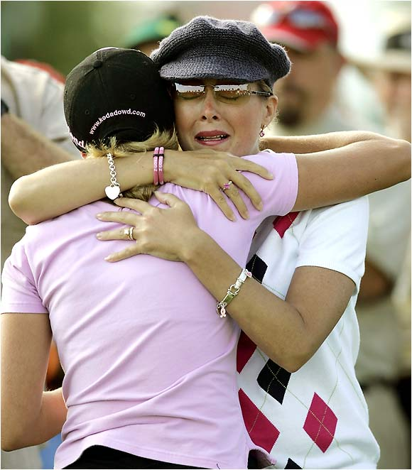 Seeing her daughter compete against the pros officially came true for Kelly Jo when Dakoda hit her first tee shot Thursday. Afterward, the two shared a heartwarming moment.