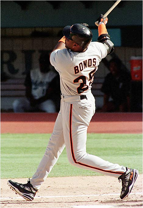 Bonds became the first member of the 400/400 club when he went deep off the Marlins' Kirt Ojala at Joe Robbie Stadium.