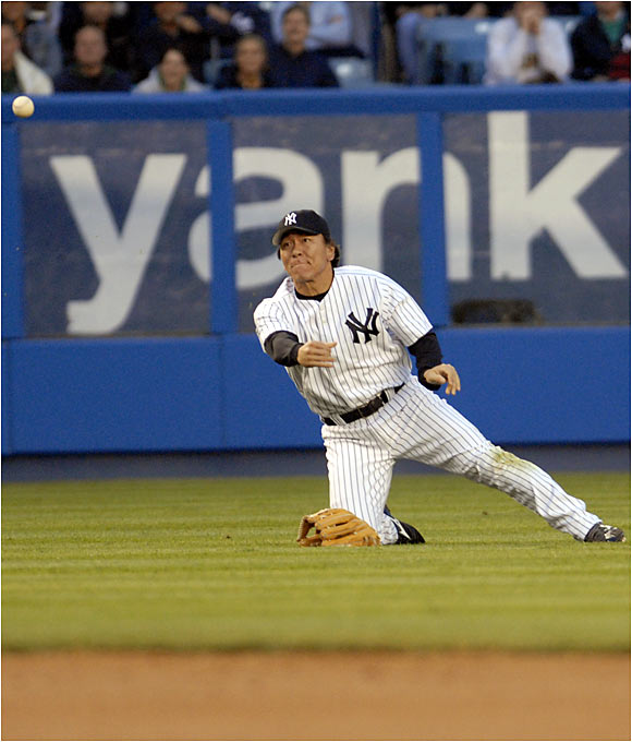 The Yankees' Hideki Matsui fell hard on his left wrist attempting to make a diving catch on Thursday. The left fielder underwent surgery for a broken wrist on Friday and is expected to miss three months. The injury snaps Matsui's streak of 1,768 consecutive games played, which dates back to his 1993 season with the Yomiuri Giants in Japan.