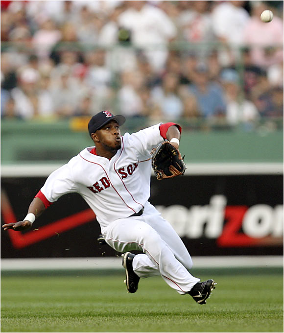 Willie Harris, starting in place of the injured Wily Mo Pena, flashed some leather in center field to help Curt Schilling become the 104th member of the 200-win club. The 39-year-old Schilling tallied his eighth victory of the season as the Red Sox swept the four-game series against the Devil Rays.