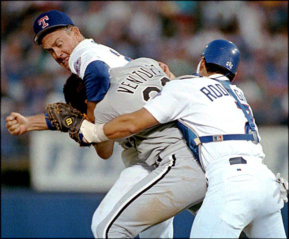Robin Ventura had a decent career, but most people will remember him for getting a bunch of noogies from Nolan Ryan, who, at 46, was 20 years his elder. Ventura was ejected from the game and Ryan stayed in. The Rangers won 5-2.