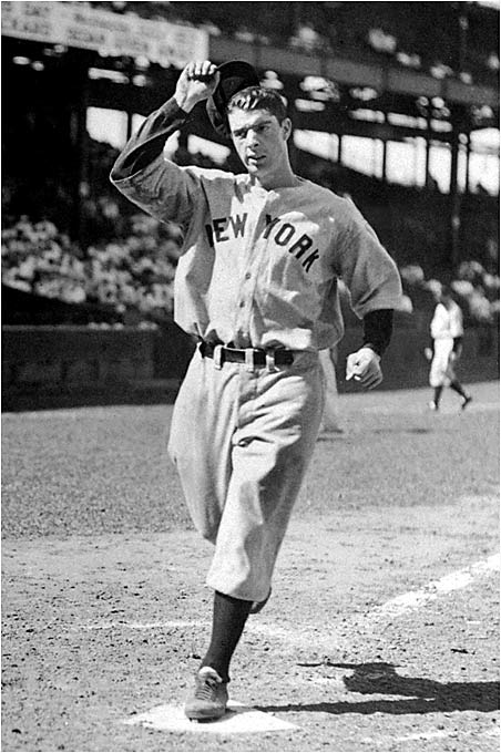 Joltin' Joe gets the nod over Mickey Mantle because of his better plate discipline (369 career strikeouts to Mantle's 1,710) despite hitting 175 fewer home runs.