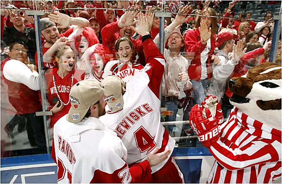 Bucky and the Badgers fans celebrate Wisco's Frozen Four win.