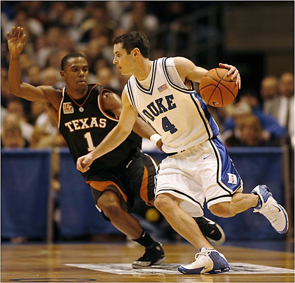 In Duke's decisive December win over Texas, SIOC U Award winner J.J. Redick tries to shake free from Daniel Gibson.