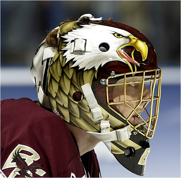 BC's Cory Schneider keeps an eagle eye on the action in the Frozen Four semifinals.