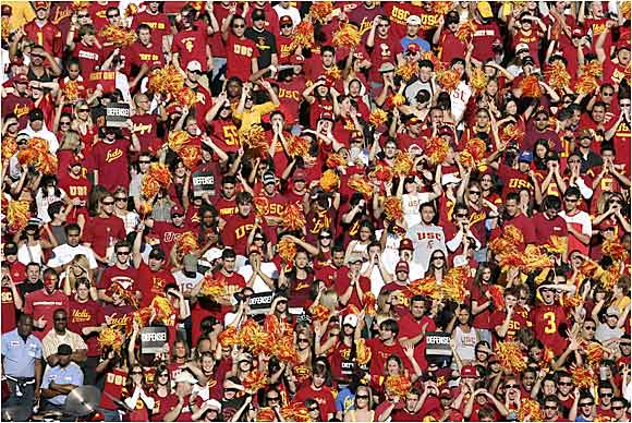 USC fans cheer on their Trojans during a Pac-10 matchup against UCLA.