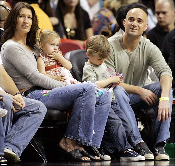 Andre Agassi and Steffi Graf, shown here with their children, Jaden Gil and Jaz Elle, have been married since 2001 and have won a combined 30 Grand Slam titles.