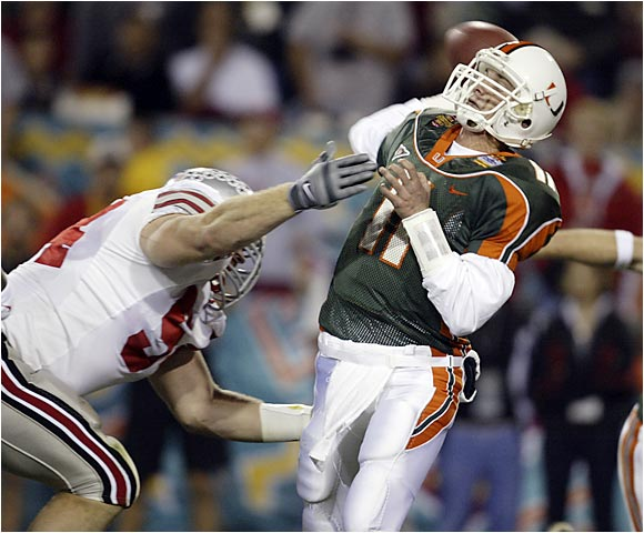 Ken Dorsey and the `Canes' 34-game winning streak came to a crushing end in an epic Fiesta Bowl.