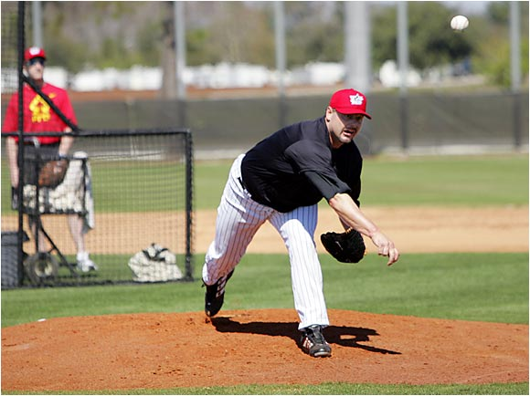 Though still uncommitted to playing in 2006, Clemens showed up at spring training to pitch batting practice to his son Koby, a third baseman in the Astros organization.
