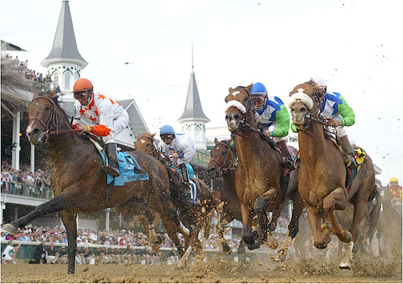 Barbaro (second from the right) made his move around the far turn, just as he had done in his first five wins.