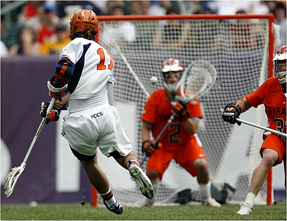 Senior midfielder Kyle Dixon cranked a shot against Syracuse freshman goalkeeper Peter Coluccini during the semifinals at Lincoln Financial Field. Undefeated Virginia rolled to a 17-10 victory to advance to the championship game.