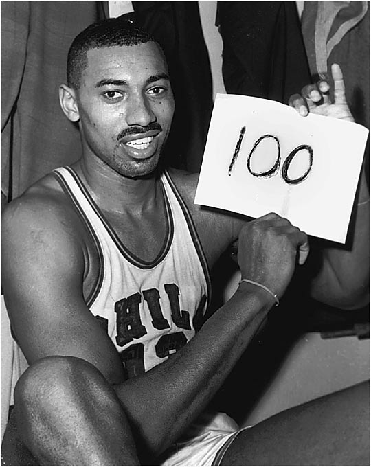 Wilt Chamberlain holds many NBA records, but on March 2, 1962, he achieved his greatest feat by scoring 100 points against the Knicks in a 169-147 victory. A crowd of only 4,124 in Hershey, Pa., witnessed the incredible event. Chamberlain went on to average an NBA-record 50.4 points a game that season.