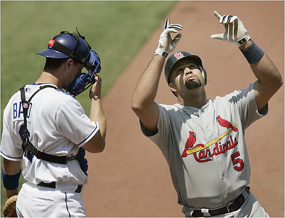 Albert Pujols continued his meteoric start to the season by smashing his third home run in as many games as the Cardinals swept the Royals in Kansas City. Pujols leads the majors with 22 homers and 54 RBIs.