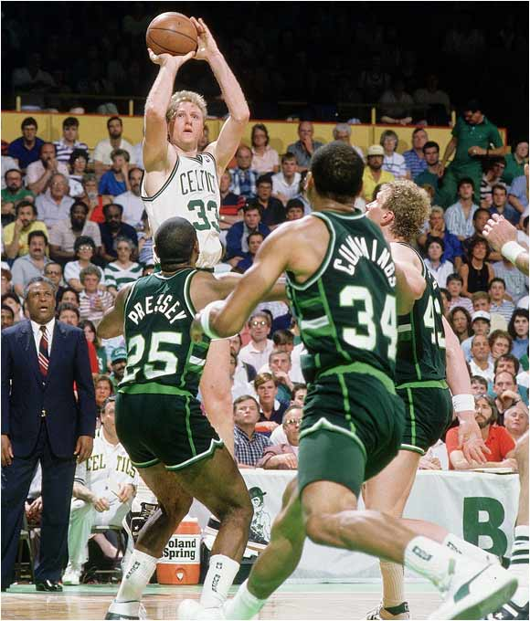 The defending champion Celtics took a 3-games-to-1 lead over Milwaukee before coach Don Nelson's Bucks stormed back to knot the series. Larry Bird and the Celtics were too much to overcome at the Boston Garden, as Milwaukee lost 119-113.