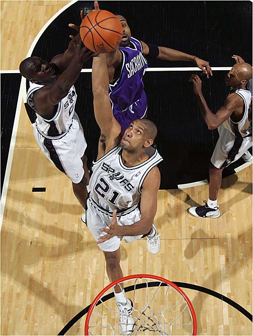 It was a frustrating regular season for Duncan, who was unable to contribute his usual 22 and 12 toward San Antonio's 63-win season due to an inflamed arch in his left foot. Playing only six games in 14 days against the Kings helped Tim's first-round production; he appeared to gain strength as the series went along, and averaged 18.3 points and 9.2 rebounds in just 33 minutes a game, shooting 61 percent from the floor.