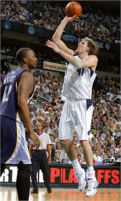 Probably the most consistent performer in the first round, Nowitzki made sure his Mavericks didn't waste time in dispatching the Memphis Grizzlies in four games. Shooting 51 percent from the floor and 42 percent from three-point range, Dirk averaged 31.3 points a game along with 7.8 rebounds. His clutch three-pointer in the final regulation seconds of a Game 3 sent the contest into overtime and demoralized the Grizzlies.