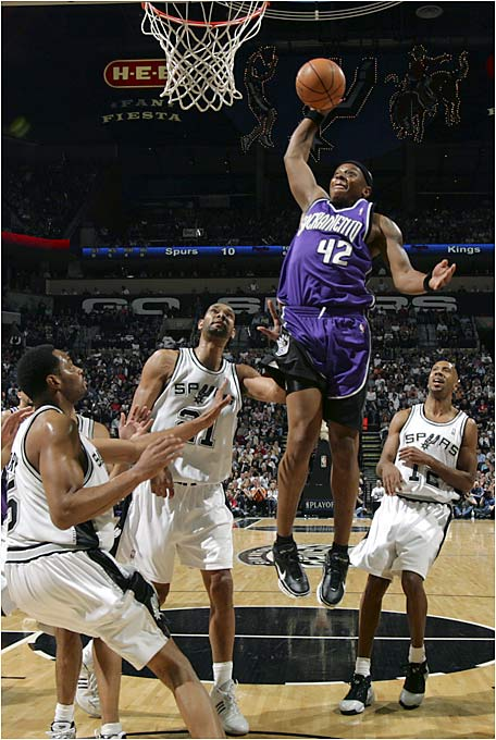 "We kept calling Bonzi a ""monster,"" and he kept giving us reason to. Wells was an exceptional rebounder in his first four NBA seasons, even after tearing his ACL in 2001, but he regressed significantly during his last season in Portland and in time spent with Memphis. Playing his first season in Sacramento, Wells regained his touch off the glass, and it carried over into a 12-board-a-game average in the playoffs. The 6-foot-5 guard also averaged 23 points on 61 percent shooting while hitting half as many threes (five) as he nailed during the entire regular season."