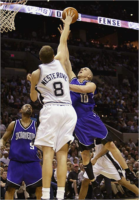 With Peja Stojakovic traded to Indiana, someone had to assume the role of Sacramento's postseason bricklayer, and Bibby was more than ready to lay the foundation. Bibby watched his per-game scoring average drop from 21.1 points in the regular season to 16.7 in the playoffs, while shooting 35 percent from the floor. He also shot 35 percent from behind the arc and averaged only 5.2 assists (to three turnovers) in nearly 43 minutes of action.