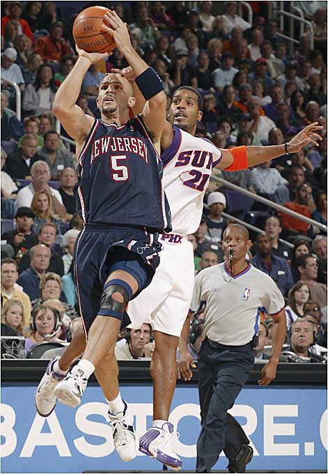 The active career leader in double doubles (67), Kidd is one of the best rebounding point guards in NBA history, with a career average of 6.5 a game. Like any true point guard, however, Kidd is a natural passer, and his career average of 9.3 proves that he is one of the all-time greats. After a solid, but not spectacular, first eight years in the league with Dallas and Phoenix, Kidd was traded to New Jersey for Stephon Marbury before the 2001-02 season and has led the Nets to the Eastern Conference finals twice. He's hoping this is the year he finally captures his first championship.