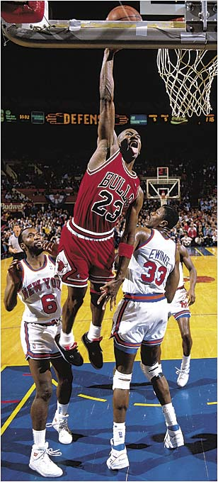 After Michael Jordan hit his famous foul-line jumper (complete with fist-pump celebration) to lead the sixth-seeded Bulls past Cleveland, the Bulls were rewarded with a second-round series against John Starks, Patrick Ewing and the rest of the second-seeded Knicks. The Bulls jumped to a quick 3-1 series lead and came back from a loss in Game 5 to win the series in six. They lost to the Bad Boys of Detroit in the conference finals.