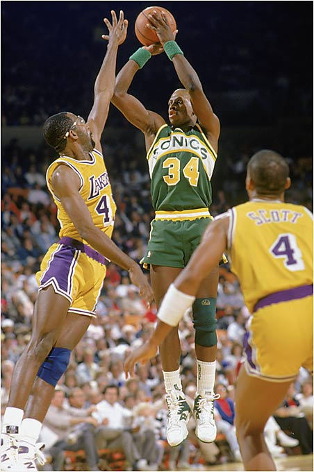 Despite a losing regular-season record (39-43), the seventh-seeded Sonics knocked off the No. 2 Mavs (55-27) three games to one, including an incredible 151-point performance in Game 1. The Sonics were led by Xavier McDaniel and Tom Chambers while the Mavs struggled to make up for the lackluster play of Mark Aguirre, who was suffering from strep throat. The Sonics made it past Houston in the semifinals before being swept by the eventual champion Lakers.