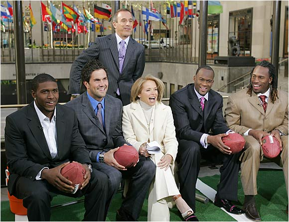 Today cohosts Katie Couric and Matt Lauer, standing, had a spirited interview with Reggie Bush, Matt Leinart, Vince Young and Vernon Davis.