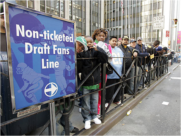 Many came, but not everyone got into Radio City Music Hall for Saturday's draft -- especially those who didn't have tickets.